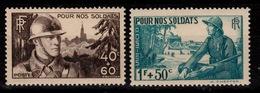 YV 451 / 452 N** Soldats Cote 12 Euros - France