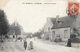 CARTE POSTALE ORIGINALE ANCIENNE : LE PONDY EN BERRY LA ROUTE DE CHARENTON ANIMEE CHER (18) - France