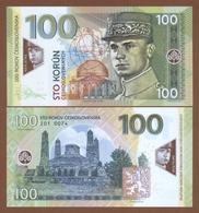 CZECHOSLOVAKIA 100 Korun 2018 Polymer UNC. 100 Years Of Czechoslovakia. Milan Rastislav Stefanik. Private Essay. - Billets