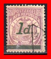 SUID AFRICA SELLO AÑO 1895 1 PENNY SUDÁFRICA TRANSVAAL - Oficiales