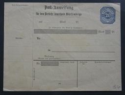Wuerttembenrg  Post-Anweisung AU46/2 (Wue.8 - Wurtemberg