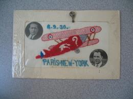 CPA Souvenir Photo Aviateurs Costes Et Bellonte Du 2/9/1930 Sur Avion Point D'Interrogation Paris New York - Aviation