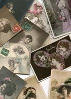LOT De 10 Cartes Illustrations Jolies Femmes Fête Bonne Année Garçon Année 1911 Etc - Postcards