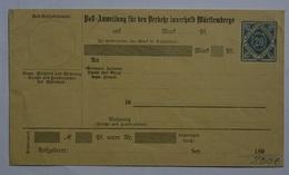 Wuerttembenrg  Post-Anweisung ADU7 (Wue.8 - Wurtemberg
