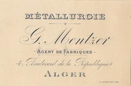 Carte Mentzer Agent De Fabriques à Alger Métallurgie - Belgium