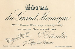 Carte Hôtel Du Grand Monarque Bruxelles Wauters Speelers - Belgium