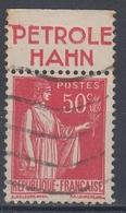 +D3231. France Advertising. PETROLE HAHN. Yvert 283 Type II. Braun 830. Cancelled - Advertising