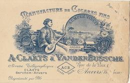 Carte Manufacture De Cigares Cigare Clarys Vandenbussche Anvers - Belgium