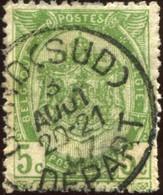 """COB   56  (o) Oblitération """"Gand (Sud)(Départ)""""  T1L - 1893-1907 Armoiries"""