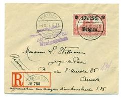 Belgique - Occupation 14-18 OC23 Sur Recommandé De Haybes (France) Vers Anvers 4 Aug 1917 - Guerre 14-18