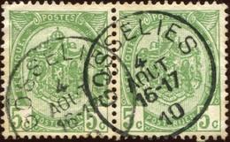 """COB   83  (o) Oblitération """"Gosselies""""  T1L  En Paire - 1893-1907 Armoiries"""