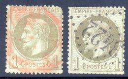 Empire Lauré / N° 25 Oblitération Cachet Rouge - 1863-1870 Napoléon III Lauré