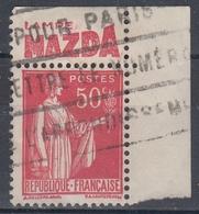 +D3241. France Advertising. LAMPE MAZDA. Yvert 283 Type I. Braun 851. Cancelled - Advertising