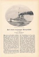 201 Auf Einem Modernen Panzerschiff 1 Artikel Mit 4 Bildern Von 1902 !! - Historische Dokumente
