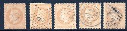 Empire Lauré / Lot N° 28 Pour Oblitérations Dont A Dans Un Cercle - 1863-1870 Napoléon III Lauré