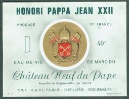 Etiquette Eau-de-vie De Marc Du Château Neuf Du Pape Roquemaure HONORI PAPPA JEAN XXII - Etiquettes