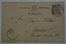 Wuerttembenrg Postkarte  P26I (Wue.8 - Wurtemberg