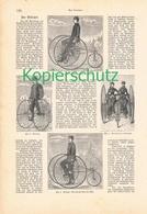 207 Drais Velociped 1 Artikel Mit 7 Bildern Von 1883 !! - Historische Dokumente