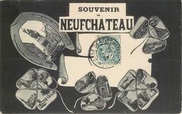 CPA 88 Vosges Souvenir De Neufchateau Multi Vues Multivues Fer à Cheval Trèfle 4 Feuilles Porte Bonheur 1907 - Neufchateau