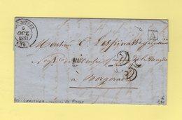 Liposthey - 39 - Landes - 5 Octobre 1853 - Boite Urbaine A - Courrier De Pissos - Taxe 25 Double Trait - Poststempel (Briefe)