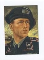 1942 3. Reich Farbige Propagandakarte Panzerkommandant Mit Totenkopfemblem Zeichnung Von Axter -Heudtlaß - Deutschland
