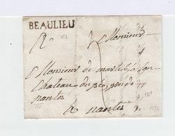 Sur Partie De Pli Cachet Linéaire Beaulieu. Taxe Manuscrite. Cachet De Cire. (1048x) - Marcophilie (Lettres)