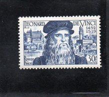 """Timbre N° 929 """" Léonard De Vinci """" Cote 10 € - Francia"""