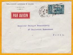 1927 - Lettre Par Avion De Tanger Chérifien Vers Paris, France En 2 Jours - Flamme Daguin Illustrée - Ligne Mermoz - Morocco (1891-1956)