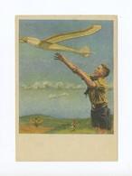 1944 3. Reich Generalgouvernment NS Fliegerkorps NSFK Farbkarte Hitlerjunge Mit Modellflugzeug; Blankofrankatur - Deutschland