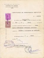 31239. Certificado Permanencia Extranjeria SANTIAGO (Chile) 1966. Fiscal Viñetas Impuestos - Chili