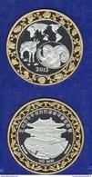 Nord Corea 100 Won 2013 North Korea Capra Goat Ziege BIG Bimetallic Coin Chinese Zodiac - Corea Del Norte