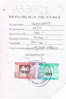 31240. Hoja De Pasaporte Consulado Chile En Barcelona 1994. Fiscal Viñetas Servicio Consular - Chili