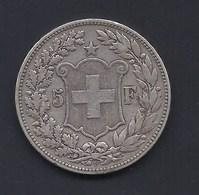 1892 5 FRANCS SUISSE SCHWEIZ CONFOEDERATIO HELVETICA ARGENT SILVER SILBER - Suisse