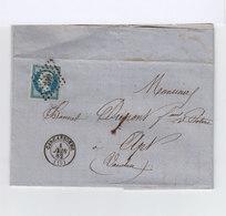 Sur Pli AC Type Napoléon 20 C. Bleu Oblitéré Grille Losange. CAD Carcassonne 1862. Destination Apt, Vaucluse. (1053x) - Marcophilie (Lettres)