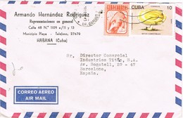 31241. Carta Aerea HABANA (Cuba) 1990. Oficina Cambio. Stamp Setas, Champignon - Cuba