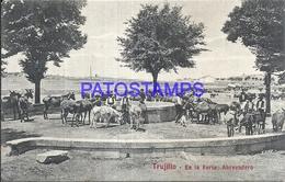 106543 SPAIN ESPAÑA TRUJILLO CACERES EN LA FERIA ABREVADERO POSTAL POSTCARD - Espagne