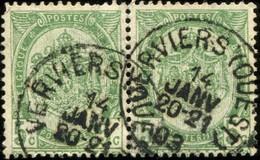 """COB   56  (o) Oblitération """"Verviers (Ouest)"""" T1L  En Paire - 1893-1907 Armoiries"""