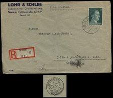 WW II DR 42 Pfg Hitler EF  Auf R - Firmen Briefumschlag ,Endzeitbeleg : Gebraucht Saaz  - Mittelgrund über Bodenbach 9 - Deutschland