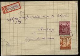 WW II GG Generalgouvernement Polen R - Briefumschlag : Gebraucht Stryj Galizien - Lemberg 1941 , Bedarfserhaltung. - Deutschland
