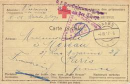Correspondance Des Prisonniers De Guerre Avec Cachet Censure Et CROIX ROUGE D'Autriche, Timbre à Date RAABS Pour Paris - 1914-18