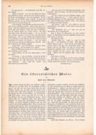 255 Jakob Emil Schindler Österr.Maler Artikel Mit 6 Bildern Von 1894 !! - Historische Dokumente