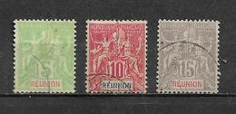 Timbre De Réunion  De 1900/05  N°46 A 48  Oblitérés - Réunion (1852-1975)