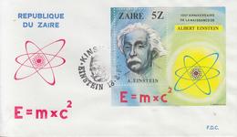 Enveloppe  FDC  1er  Jour   ZAÏRE   Bloc  Feuillet    Albert   EINSTEIN   1980 - Albert Einstein