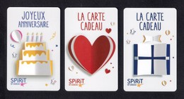 3 Carte Cadeau  SPIRIT.   Gift Card. Geschenkkarte - Gift Cards