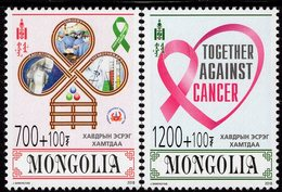 Mongolia - 2018 - Together Against Cancer - Mint Stamp Set With Charity Surcharge - Mongolia