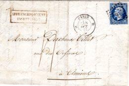 Lettre De Paris D  08/10/57  Taxe à 4 D  AFFRANCHISSEMENT INSUFFISANT  7 G 3/4 Au Lieu De 7 G 1/2  !!! - Marcophilie (Lettres)