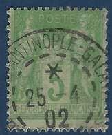 1898 Sage N°102 5c Vert/jaune N/B Oblitéré Constantinople Galata Superbe !! - 1898-1900 Sage (Type III)