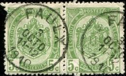 """COB   83  (o) Oblitération """"Faulx"""" T2R  En Paire - 1893-1907 Armoiries"""