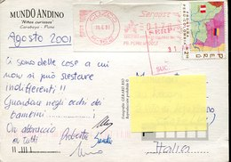 41664 Peru, Circuled Card 2001 From Cuzco To Italy, Red Meter Freistempel - Pérou