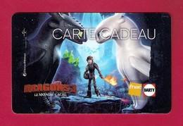 Carte Cadeau  FNAC-DARTY.   Dragons 3.   Gift Card. Geschenkkarte - Cartes Cadeaux